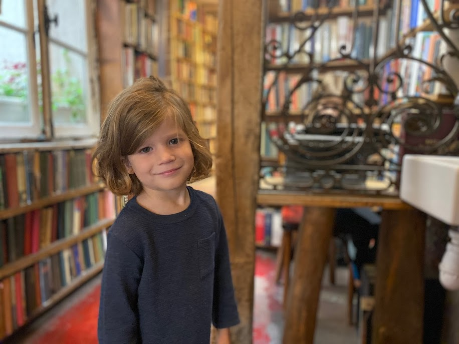 Young boy in bookstore