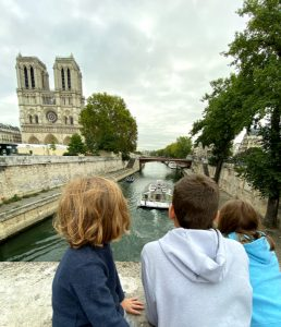 Kids looking out at Notre Dame