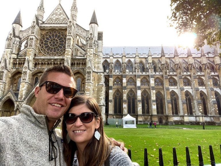 Couple in front of Westminster Abbey in London