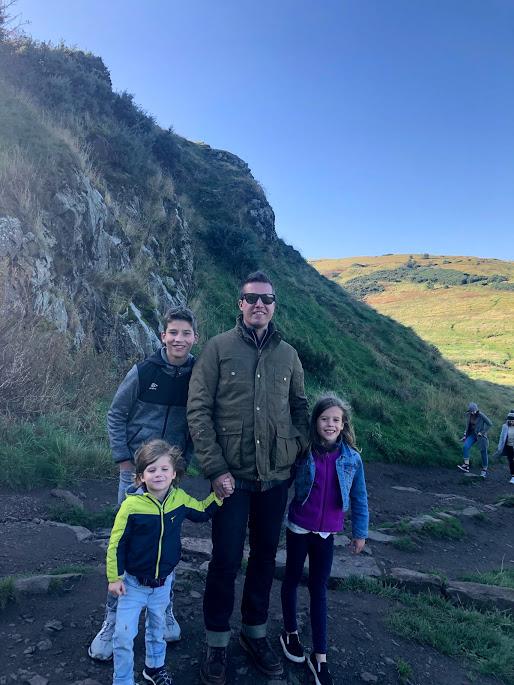 Dad with kids at Aurther's Seat Edinburgh Scotland