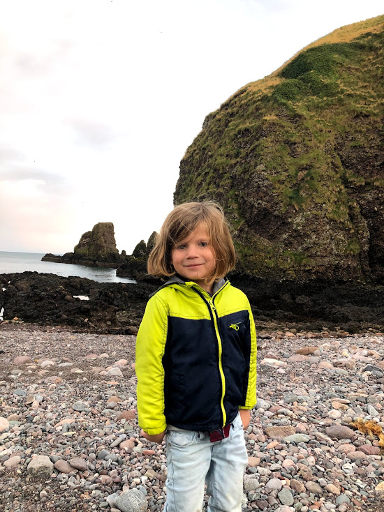 Toddler boy on North Sea Coast