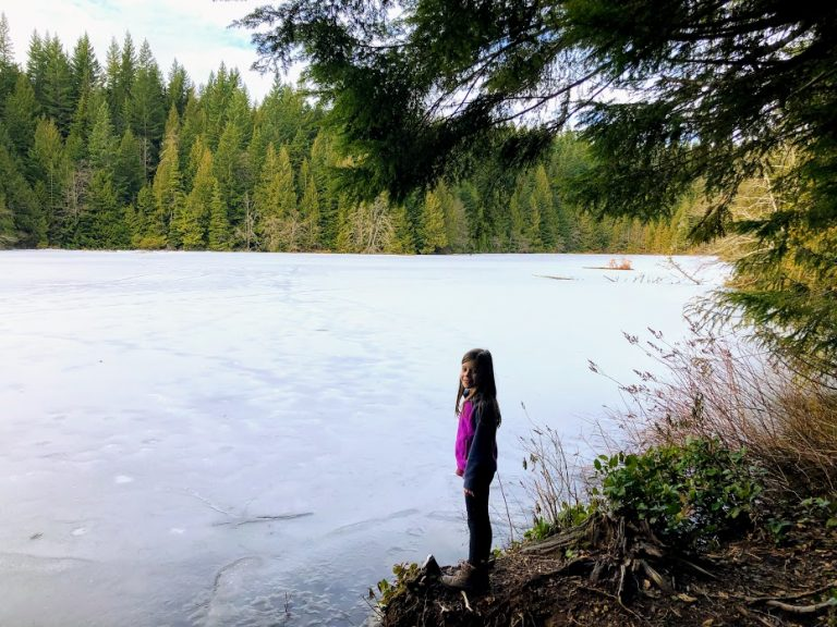 Frozen Lake on Four Lakes Trail in Squamish, BC