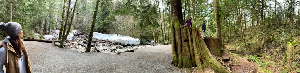 Panoramic picture at Shannon Falls in Squamish, BC